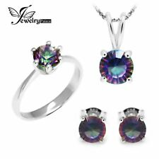Round Rainbow Topaz Pendant Ring Earring 925 Sterling Silver