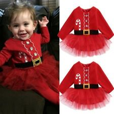 Newborn Girl Baby Long Sleeve Christmas Santa Claus Tulle Dress Outfits Costume