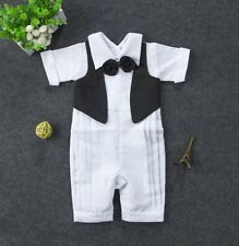 Baby Toddler Boy Wedding Christening White Formal Suits Outfits Clothes Romper