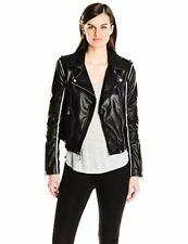 BCBGMAXAZRIA Women's Faux-Leather Moto Jacket W/ Contrast Piping