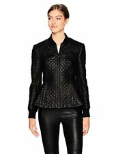 BCBGMAXAZRIA Women's Charles Knit Quilted Faux Leather Jacket - Choose SZ/Color