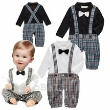Baby Boy Wedding Christening Tuxedo Formal Party Suit Outfit Clothes Romper 0-18