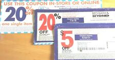 Select 4 coupons~Bed Bath & Beyond~BB&B~$5 off $15~20% store or online/store