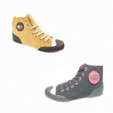 WOMENS LADIES CASUAL CANVAS LACE UP FLAT HI TOP TRAINERS PUMPS SHOES SIZE 4-9