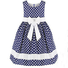 Girl Dress Blue and White Dot Butterfly Party Pageant Children Clothes 4-12Y