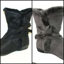 CA Collection By Carrini Black Gray Faux Suede Fur Vegan Boots 7.5 8 8.5 9 Ankle