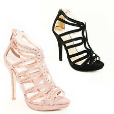 WOMENS LADIES PLATFORMS STRAPPY GLADIATORS HIGH HEELS SANDALS SHOES SIZE 3-8