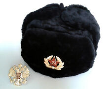 HAT RUSSIAN WINTER USHANKA WITH 2 BADGES !! Soviet Russian Army  MILITARY STYLE