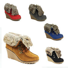 WOMENS LADIES WEDGE HEEL LACE UP WARM FAUX FUR LINED ANKLE BOOTS SHOES SIZE 3-8