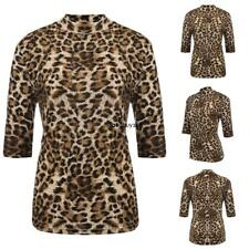 Women's Stand Collar Half Sleeve Leopard Casual Slim Fit T-Shirt Plus GDY7 01
