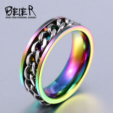 BEIER New Part Plated-Gold/Black Man's Spin Chain Ring For Stainless Steel Cool