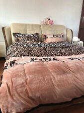 Leopard Thickening flannel PINK Quilt Cover Flat Sheet Pillowcase ChristmasGift