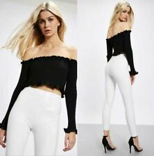 Solid Ribbed Off The Shoulder Ruffle Trim Crop Top - Black