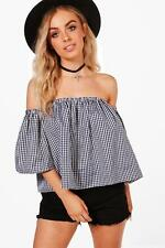 NEW Boohoo Womens Annabel Gingham Bardot Top in Viscose 5% Elastane