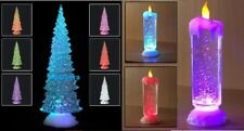 SWIRLING LED COLOUR CHANGING FLAMELESS GLITTER TREE CANDLE LIGHT XMAS