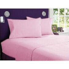 1000 TC EGYPTIAN COTTON FITTED/FLAT/DUVET/BED-SKIRT US-SIZES PINK SOLID