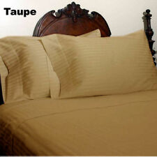 1000 TC EGYPTIAN COTTON FITTED/FLAT/DUVET/BED-SKIRT US-SIZES TAUPE STRIPE