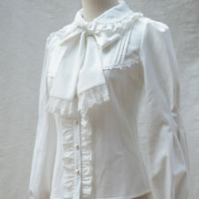 Lady Vintage Pleated Shirt Victorian Lace Blouse Lolita Long Sleeve Bowtie Tops