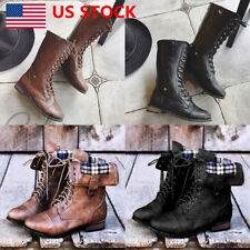 US Women Lace Up Block Heel Mid Calf Boots Back Zipper Pointed Toe Boots Shoes