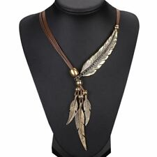 Alloy Feather Antique Vintage Necklace Sweater Chain Pendant Jewelry