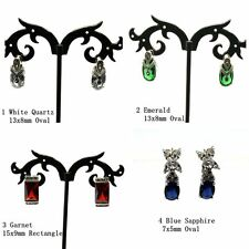 925 Sterling Silver Marcasite Gemstone and CZ Stud Earrings