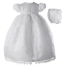 Baby Girls White Organza Floral Christening Baptism Gown With Bonnet (0-12m)