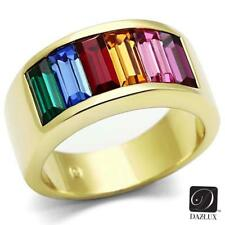Women's Stainless Steel Tusk 316 14k Gold Ion Plated Baguette Rainbow Ring
