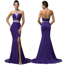 Purple Formal Long Bridesmaid Wedding Cocktail Evening Prom Gown Halter Dress