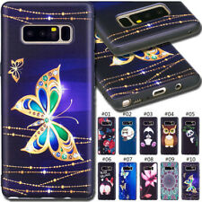 For Samsung Embossing Embossed Fashion Rubber Soft Back Gel TPU Black Case Cover