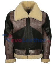 B3 Bomber Aviator Flight Real Sheep Shearling Fur Vintage Style Leather Jacket