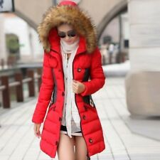 Quilted Womens Warm Long Coat Fur Collar Hooded Jacket Slim Winter Parka Outwear