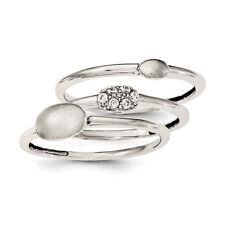 Sterling Silver Rhodium-plated Polished CZ 3 Ring Set