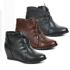 WOMENS LADIES HIGH WEDGE HEEL CONCEALED HEEL LACE UP ANKLE BOOTS SHOES SIZE 3-8