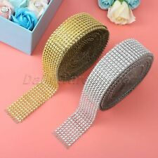 Diamond Mesh Wrap Roll Crystal Ribbon Rhinestone Wedding Favor Decoration 10Yard