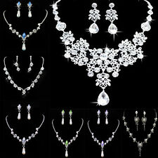 Wedding Prom Crystal Rhinestone Pendant Necklace & Earrings Jewelry Set WOW