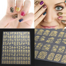 Golden Flower Design Nail Stickers 3D Decal Nail Tips Art Stickers Manicure DIY
