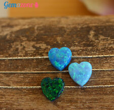 Valentine  Heart Charm Necklace Blue Green Opal Pendant Sterling Silver Choker