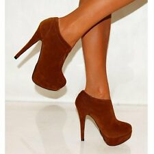 LADIES BROWN FAUX SUEDE ANKLE BOOTS STILETTO HIGH HEEL SHOES SIZES UK 3-8