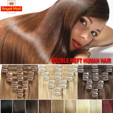 UK Thick Full Head Clip In Human Hair Extensions Real Remy Double Weft Ombre LIN