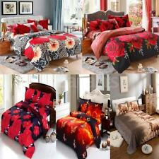 Home 4Pcs 3D Printed Polyester Bedding Set King/Queen Quilt Cover Bed Sheet D2K8