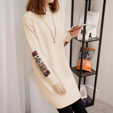 Women's Slim Mock Neck Spliced Long Reglan Sleeve Knit Pullover Long Sweater Top