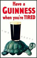 When You're Tired Guinness Turtle Vintage Poster Print Beer Drink Advertising