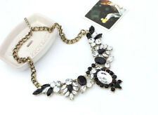 Vintage Antique Styl Jewellery Gold Plated Rhinestone Glass Crystal Bib Necklace