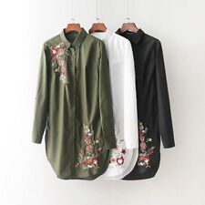 Womens Floral Embroidery Lapel Long Sleeve White Green Black Shirt Blouse Tops