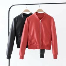 Womens Red Black Solid Zip Up Faux Leather Stand Collar Motorcycle Coat Jacket