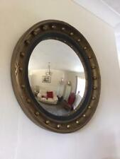 LARGE ANTIQUE REGENCY STYLE GILT WOOD EBONISED CONVEX MIRROR