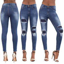 WOMEN'S COVERED RIPPED JEANS Ladies Mid Rise Faded Frayed Denim Skinny Size 6-14