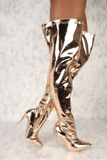 Women Metallic Mirror Pointy Toe Thigh High Heel Over The Knee Boots Rose Gold