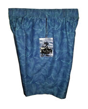 NWT NAT NAST Luxury Men's Swim Trunks Board Shorts Blue Tropical Leaves M XL