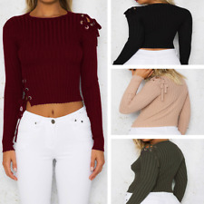 Slim Short Tops Jumper Blouse Long Sleeve Bandage Sweater Pullover Fashion Women